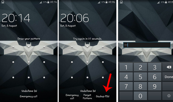 bypass android pattern lock using backup pin
