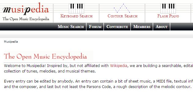 musipedia identify details of songs