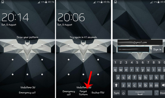 unlock android pattern lock using email