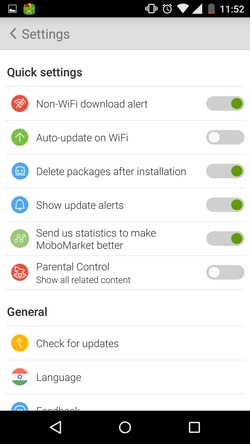 mobomarket for android settings