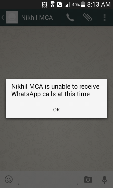 unable to receive whatsapp calls at this time