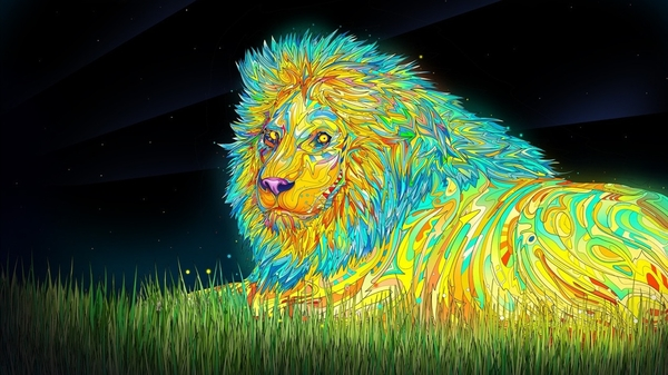 psychedelic desktop lion background