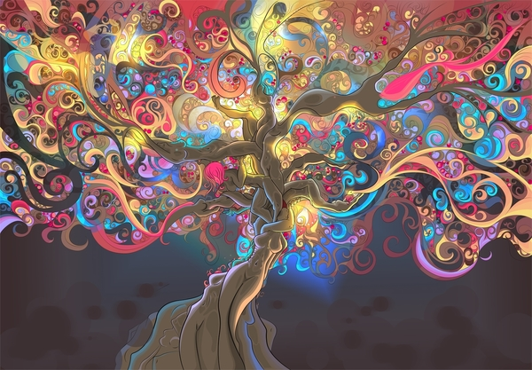 psychedelic trees artwork trippy wallpaper