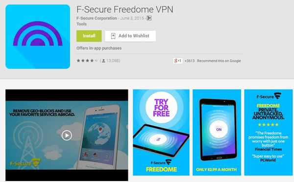 f-secure freedome android vpn