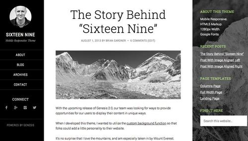 sixteen nine theme