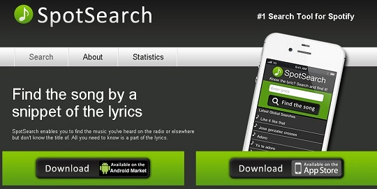 spotsearch music website